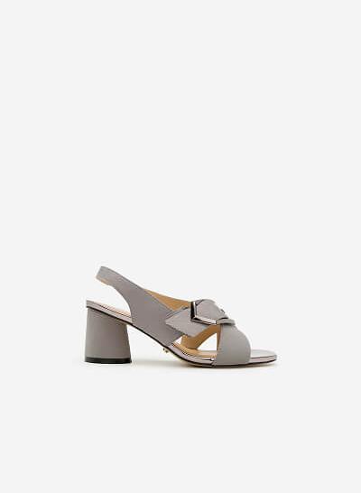 Giày Sandal Gót Vuông SDN 0592 - Màu Xám - VASCARA