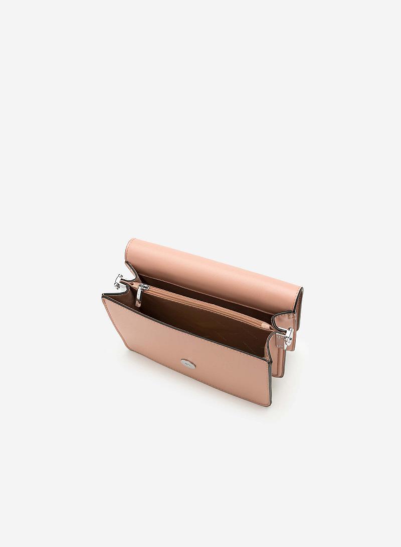 Túi Đeo Chéo Phối Belt - SHO 0118 - Màu Hồng