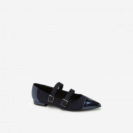 Giày Bít Mũi Khóa Cài - BMN 0313 - Màu Xanh Navy