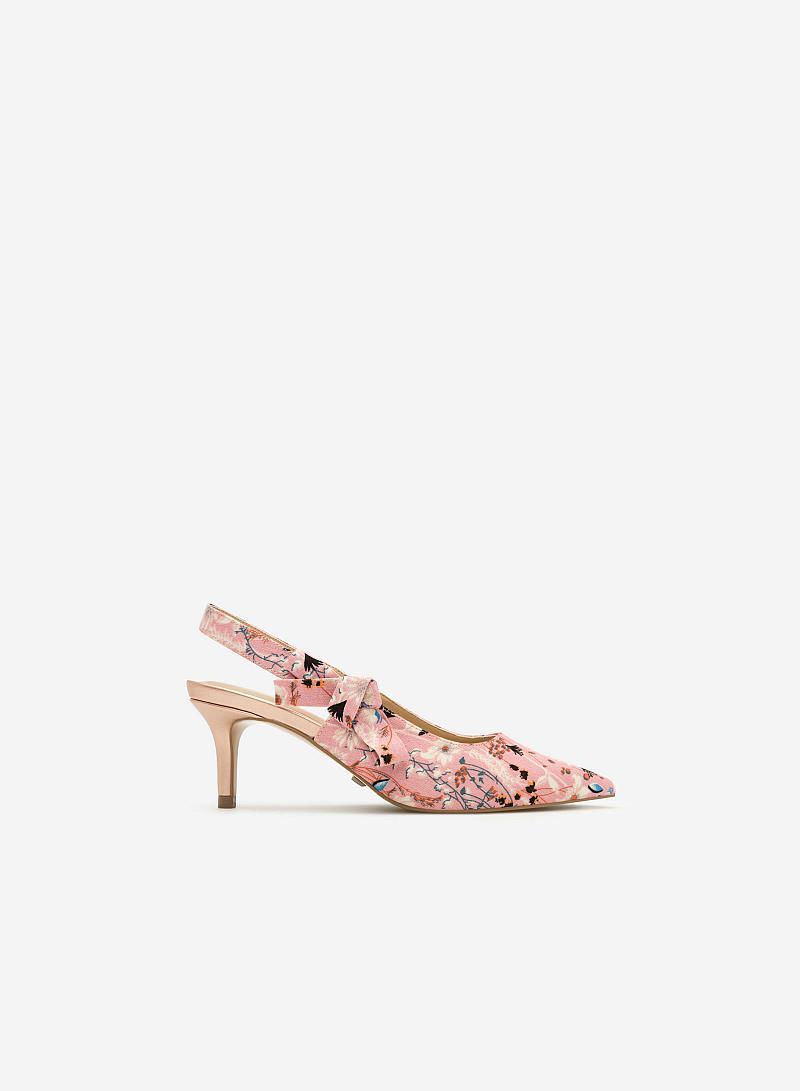 Giày Slingback Họa Tiết Hoa - BMN 0314 - Màu Hồng - vascara