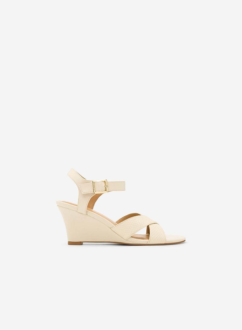 Giày Sandal Đế Xuồng - SDX 0405 - Màu Be - VASCARA