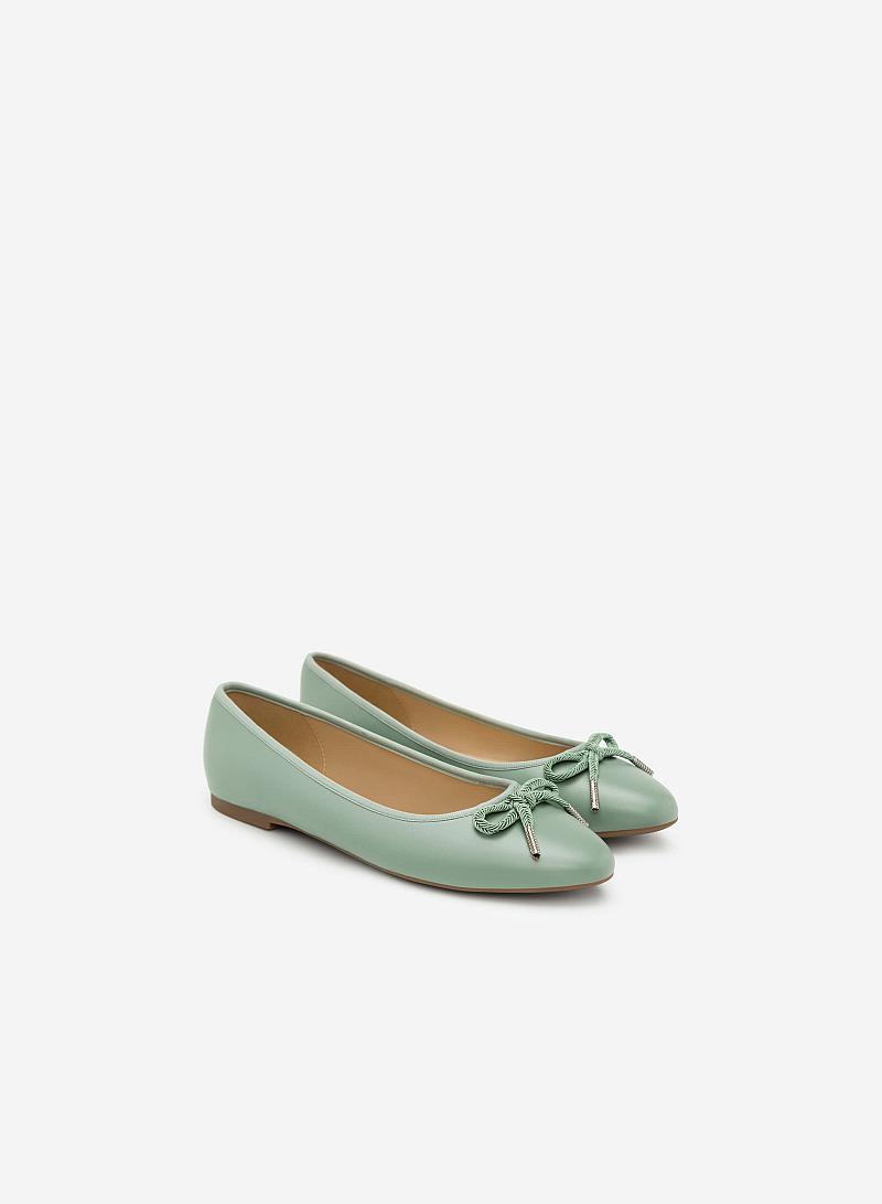 Giày Búp Bê Đính Nơ - GBB 0406 - Màu Xanh Bạc Hà - vascara