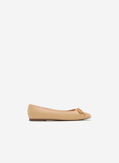 Giày Búp Bê Đính Nơ - GBB 0406 - Màu Be - VASCARA