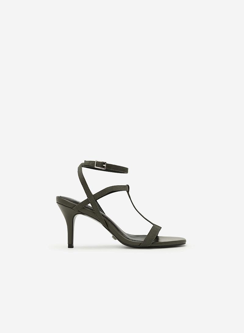 Giày Sandal T-Strap Gót Nhọn - SDN 0621 - Màu Xanh Rêu - vascara.com