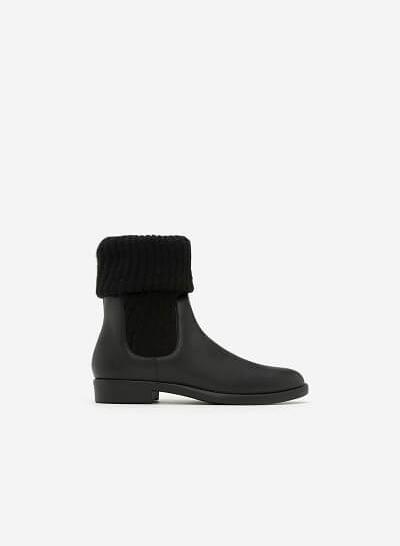 Giày Boots Phối Len - BOT 0876 - Màu Đen