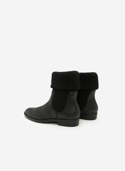 Giày Boots Phối Len - BOT 0876 - Màu Đen - VASCARA