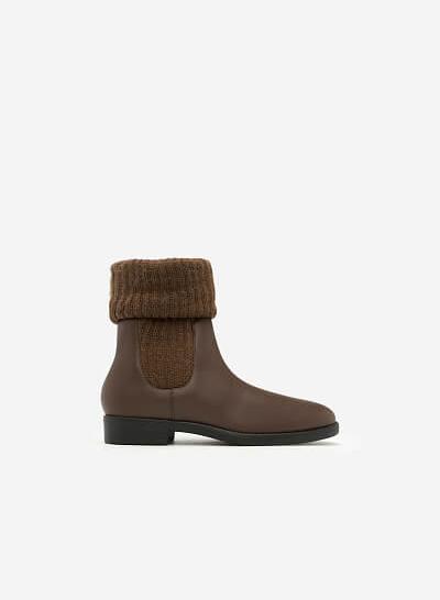Giày Boots Phối Len - BOT 0876 - Màu Nâu