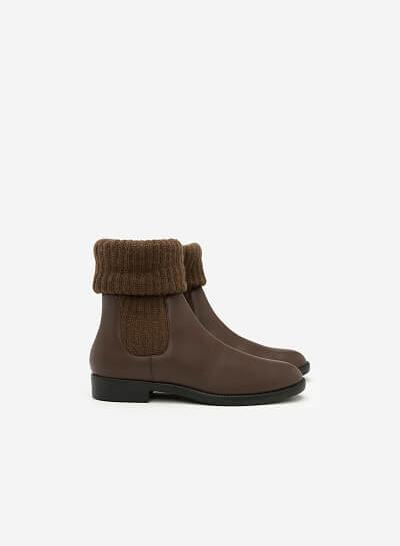 Giày Boots Phối Len - BOT 0876 - Màu Nâu - VASCARA