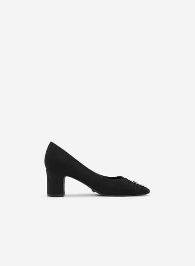 Giày Cao Gót Trụ Đính Khóa Tròn - BMN 0321 - Màu Đen - VASCARA