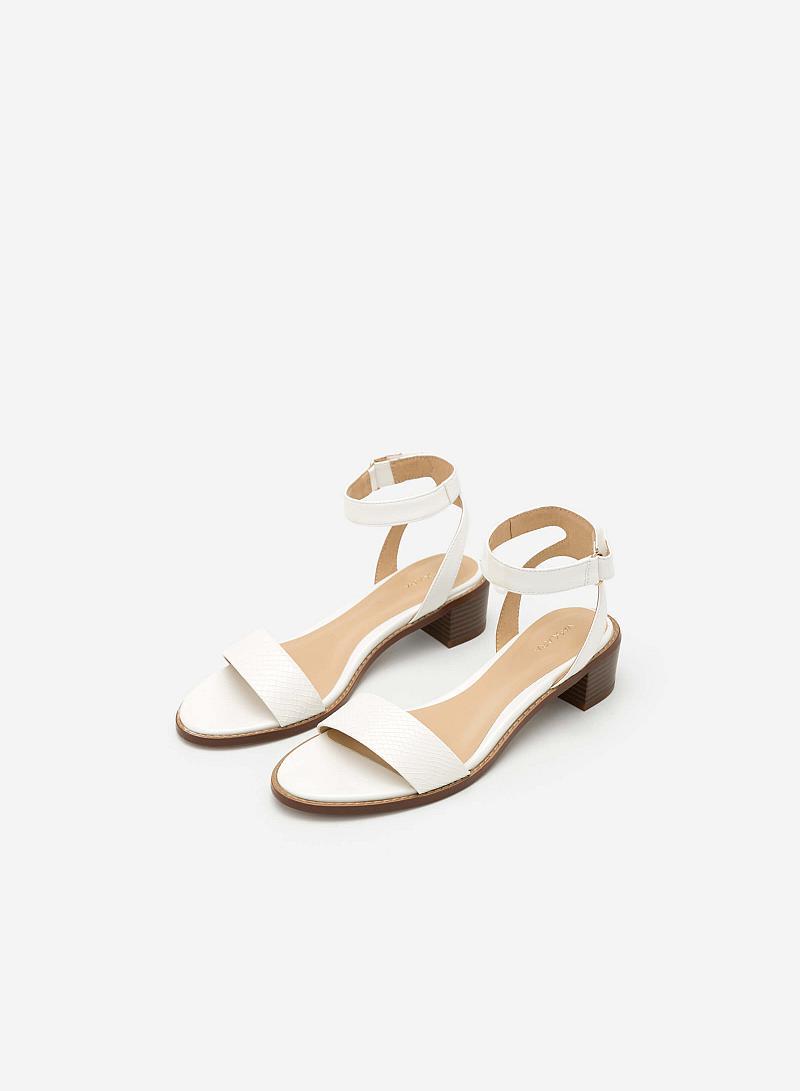 Giày Sandal Vân Da Rắn - SDN 0623 - Màu Trắng - VASCARA