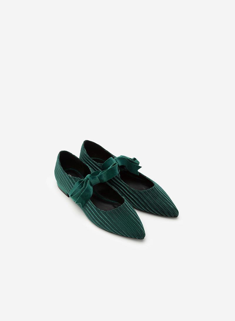 Giày Bít Mũi Nhung Gân Cột Nơ - BMN 0323 - Màu Xanh Cổ Vịt - vascara