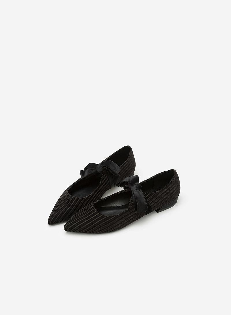 Giày Bít Mũi Nhung Gân Cột Nơ - BMN 0323 - Màu Đen - vascara