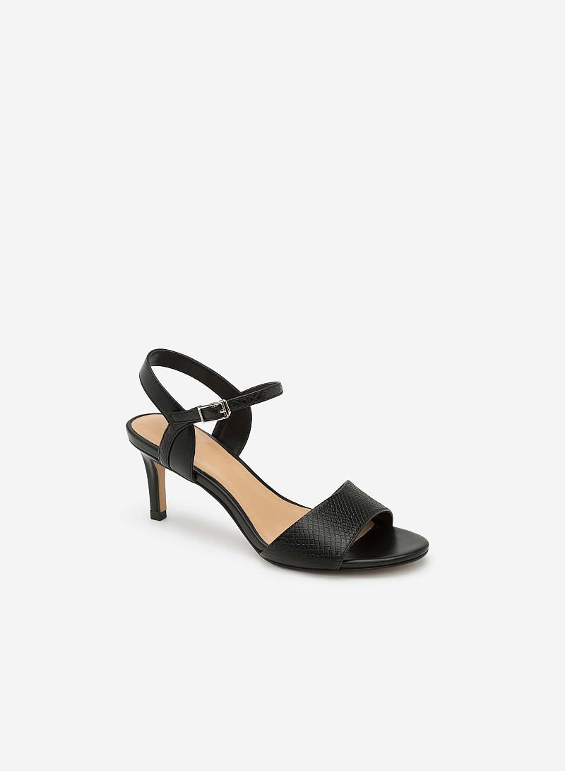 Giày Sandal Gót Nhọn Họa Tiết Vân - SDN 0616 - Màu Đen - VASCARA