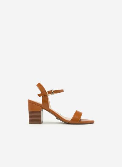 Giày Sandal Cao Gót Vuông - SDN 0627 - Màu Nâu