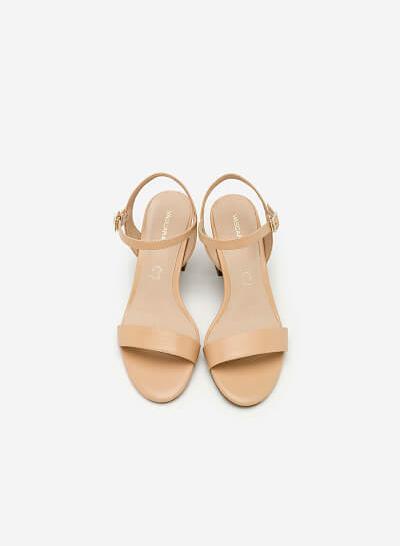 Giày Sandal Cao Gót Vuông - SDN 0627 - Màu Be - VASCARA