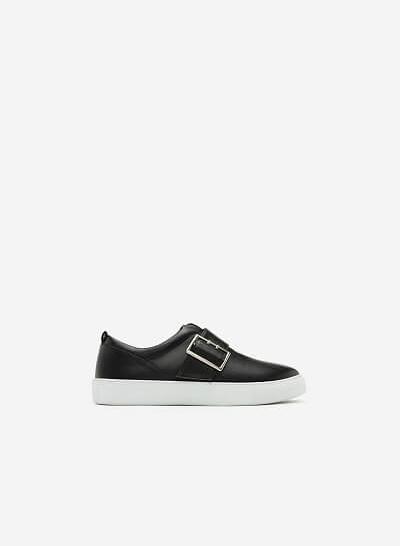 Giày Sneaker Da Bóng Phối Khóa - SNK 0019 - Màu Đen - VASCARA