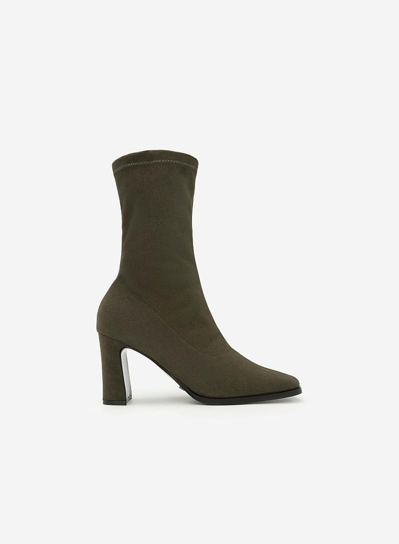 Giày Boots Da Lộn - BOT 0877 - Màu Xanh Rêu - VASCARA