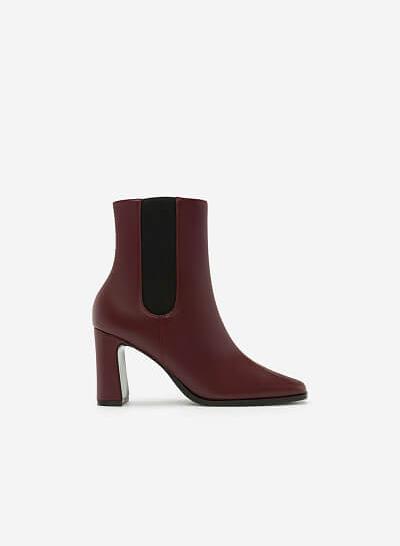 Giày Boots Khóa Kéo - BOT 0879 - Màu Đỏ Đậm