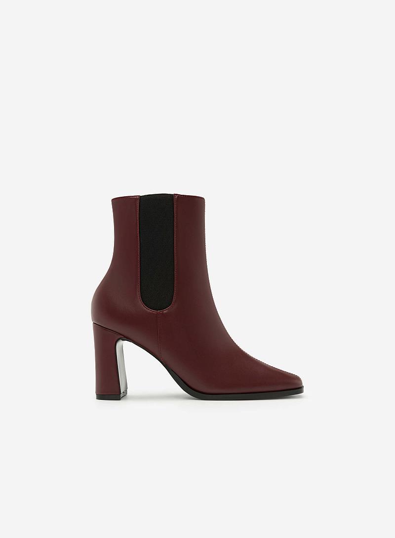 Giày Boots Khóa Kéo - BOT 0879 - Màu Đỏ Đậm - vascara