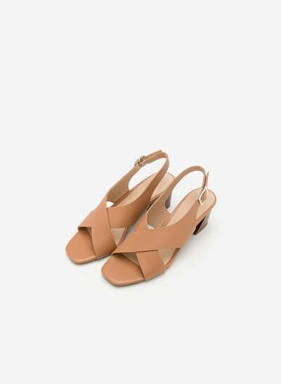 Giày Sandal Cao Quai Đan Chéo - SDN 0615 - Màu Be - vascara