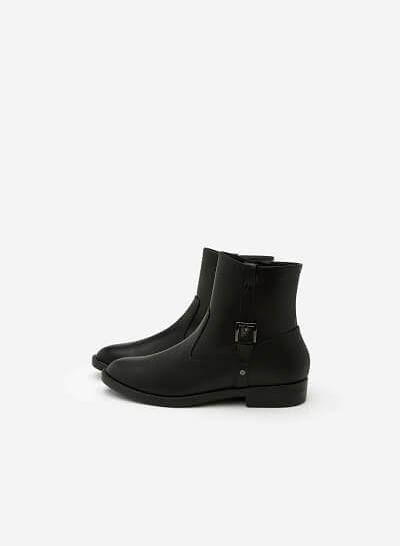 Giày Boots Phối Belt - BOT 0881 - Màu Đen - VASCARA