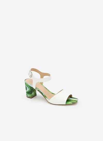Giày Sandal Cao Gót Họa Tiết Lá - SDN 0626 - Màu Trắng - vascara