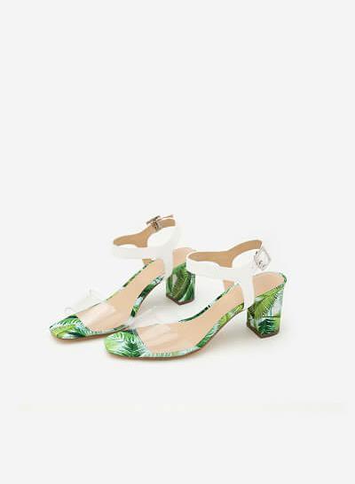 Giày Sandal Cao Gót Họa Tiết Lá - SDN 0626 - Màu Trong Suốt - vascara