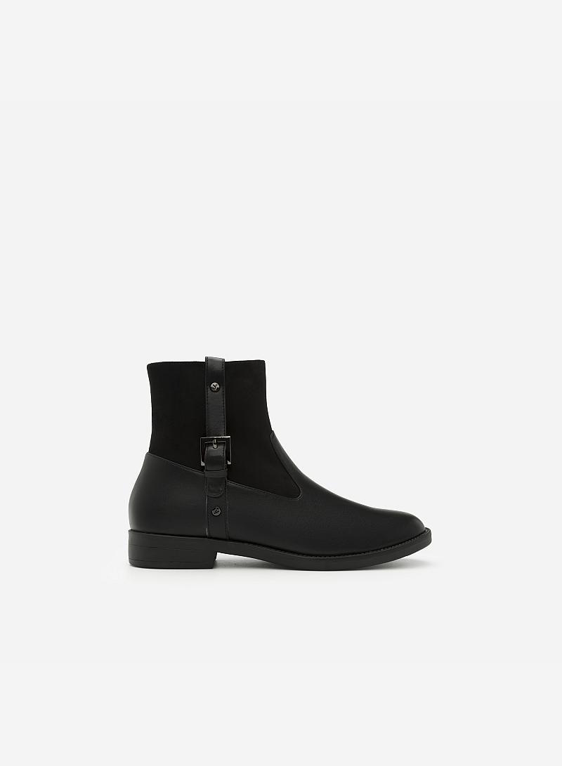 Giày Boots Phối Belt - BOT 0887 - Màu Đen - VASCARA