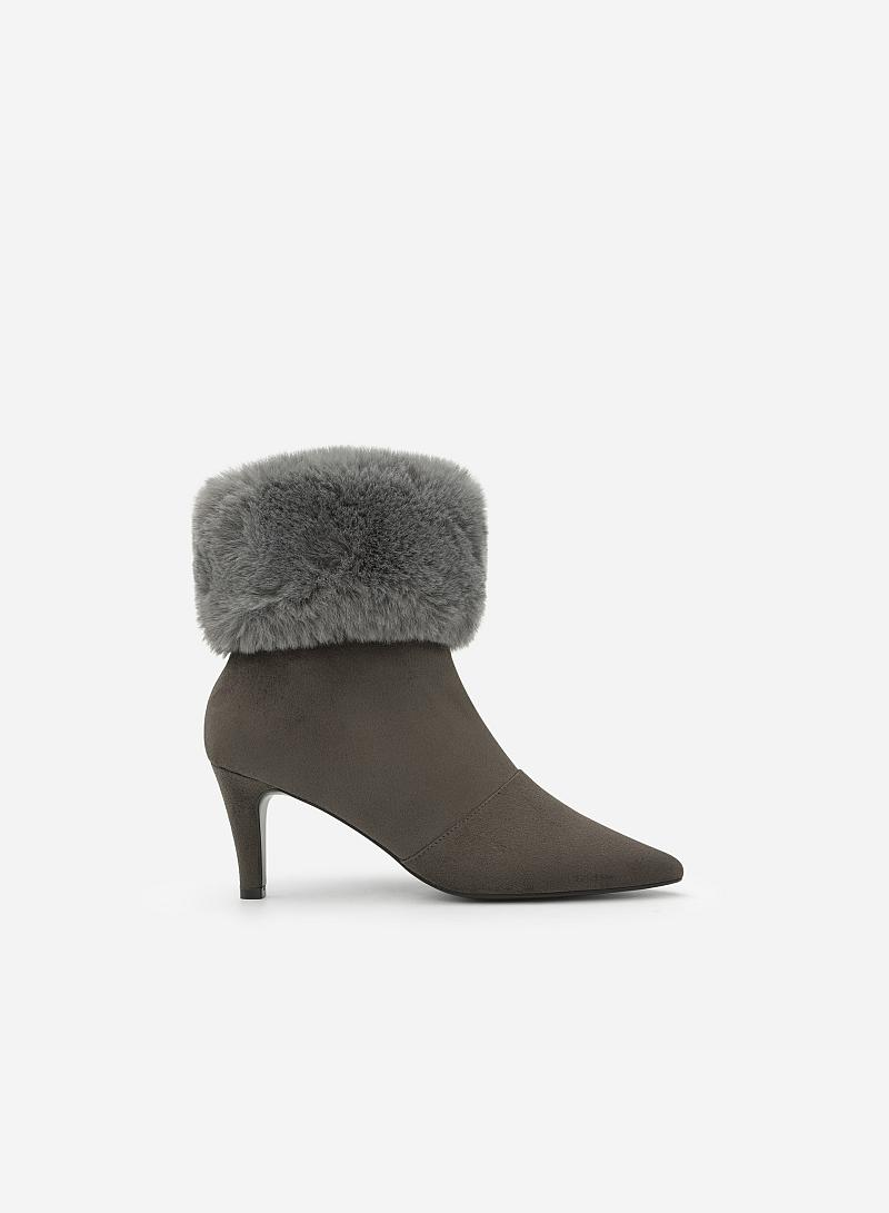 Giày Boots Cổ Lông - BOT 0878 - Màu Xám - vascara