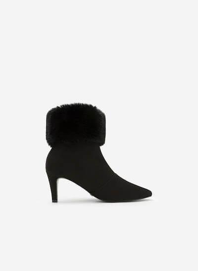Giày Boots Cổ Lông - BOT 0878 - Màu Đen