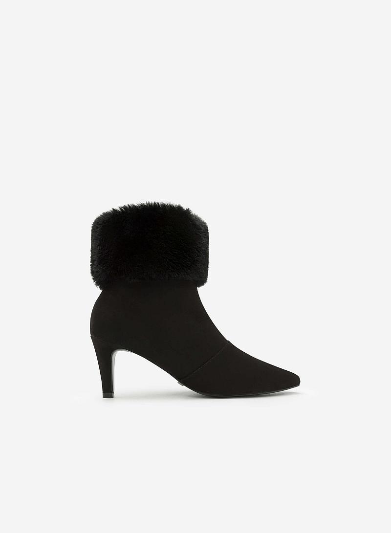 Giày Boots Cổ Lông - BOT 0878 - Màu Đen - VASCARA