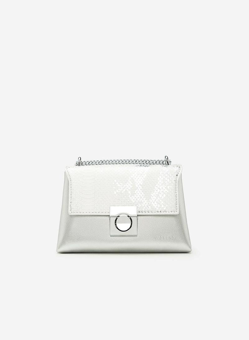 Túi Đeo Chéo Họa Tiết Da Rắn Metallic - SHO 0120 - Màu Bạc - vascara