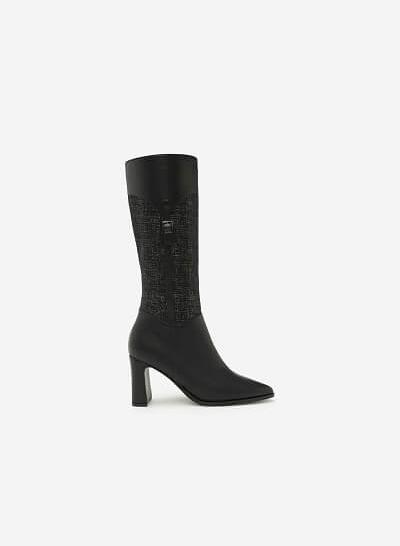 Giày Boots Cổ Cao Phối Belt - BOT 0882 - Màu Xám - vascara.com