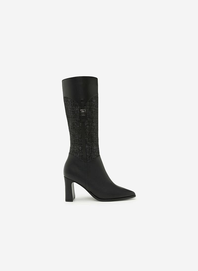 Giày Boots Cổ Cao Phối Belt - BOT 0882 - Màu Xám - vascara