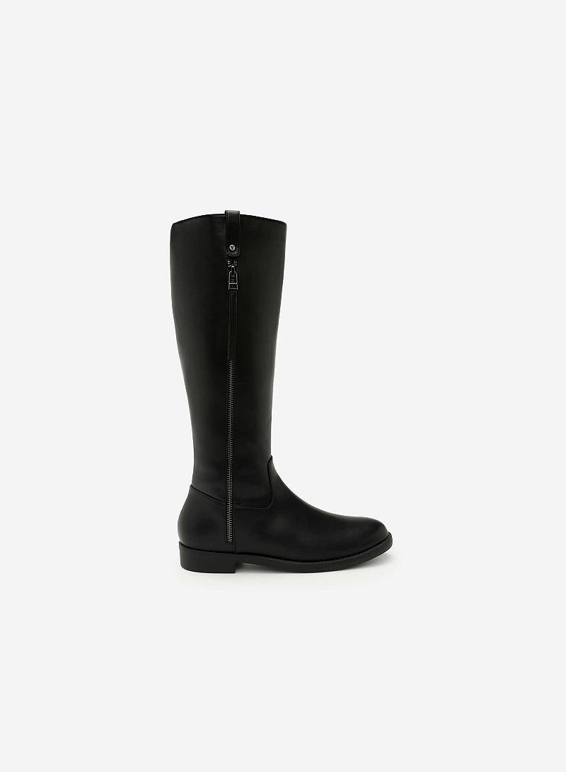 Giày Boots Cổ Cao Khóa Kéo - BOT 0885 - Màu Đen - VASCARA