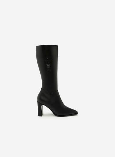 Giày Boots Cổ Cao Phối Belt - BOT 0882 - Màu Đen - vascara.com