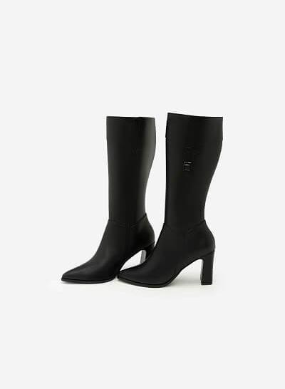 Giày Boots Cổ Cao Phối Belt - BOT 0882 - Màu Đen - VASCARA