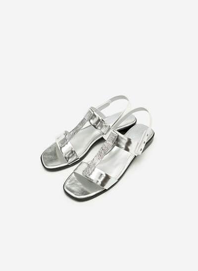 Giày Sandal Quai Chữ T Phủ Metallic - SDK 0286 - Màu Bạc - VASCARA