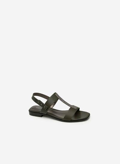 Giày Sandal Quai Chữ T Phủ Metallic - SDK 0286 - Màu Xanh Rêu