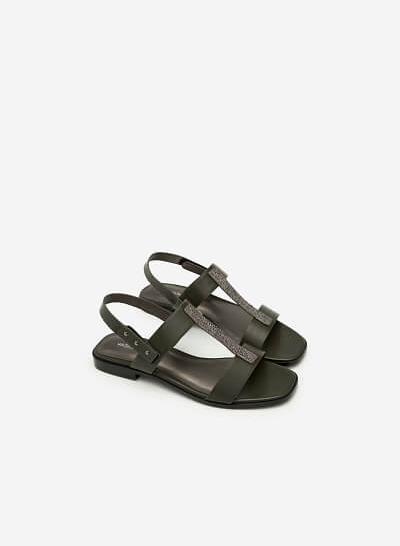 Giày Sandal Quai Chữ T Phủ Metallic - SDK 0286 - Màu Xanh Rêu - VASCARA