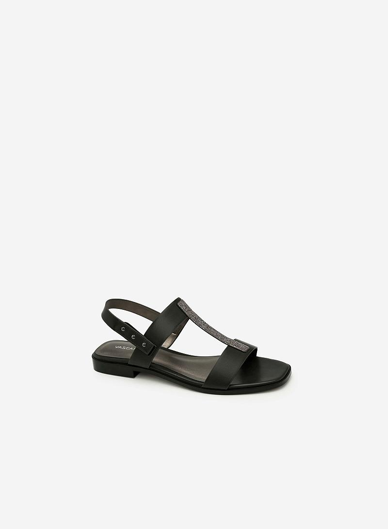 Giày Sandal Quai Chữ T Phủ Metallic - SDK 0286 - Màu Đen - VASCARA