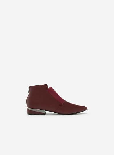 Xem sản phẩm Giày Boots Gót Ánh Kim - BOT 0889 - Màu Đỏ Đậm