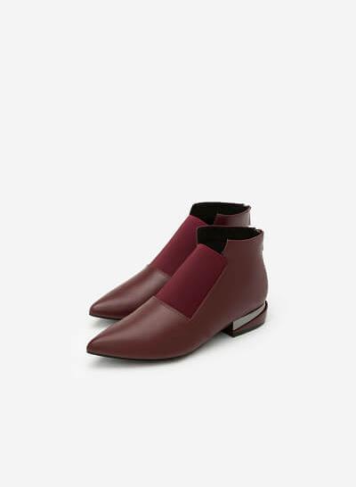 Giày Boots Gót Ánh Kim - BOT 0889 - Màu Đỏ Đậm - vascara