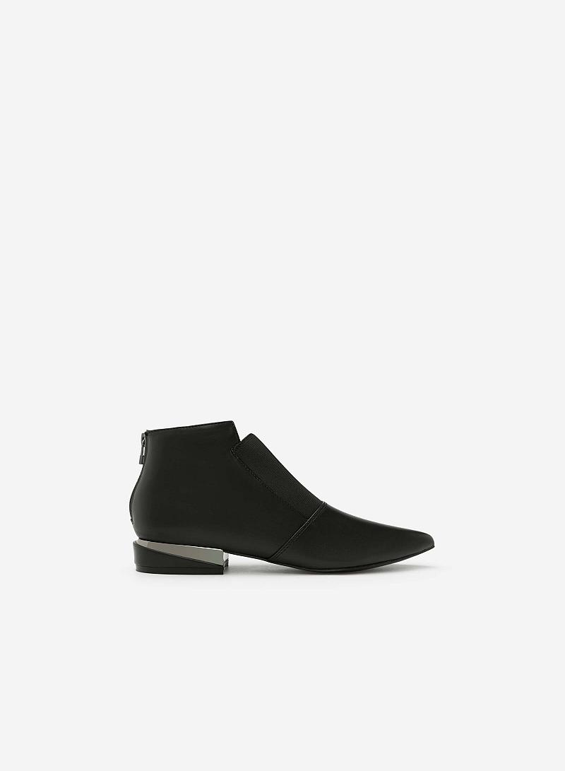 Giày Boots Gót Ánh Kim - BOT 0889 - Màu Đen - VASCARA