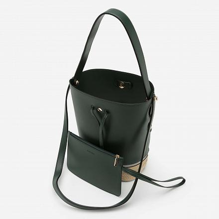 Bucket Bag Viền Cói - TOT 0043 - Màu Xanh Lá