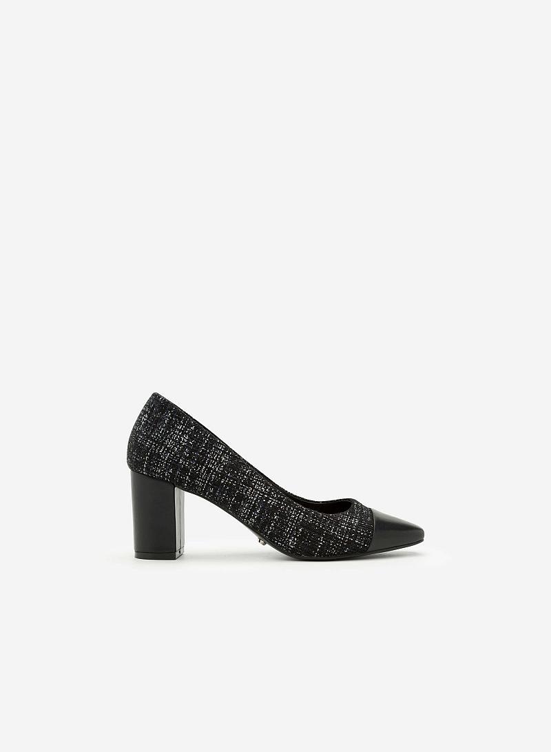 Giày Cao Gót Vải Tweed Mũi Phối Da - BMN 0298 - Màu Xanh Dương - vascara