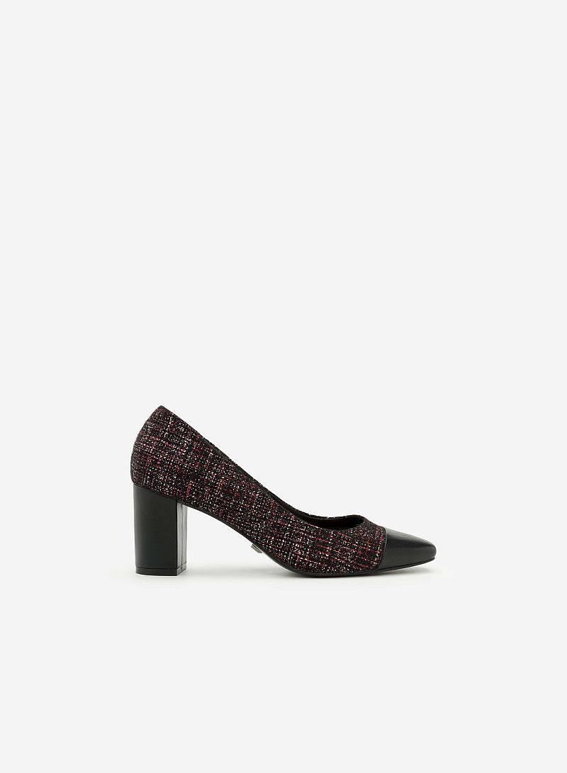 Giày Cao Gót Vải Tweed Mũi Phối Da - BMN 0298 - Màu Đỏ - VASCARA