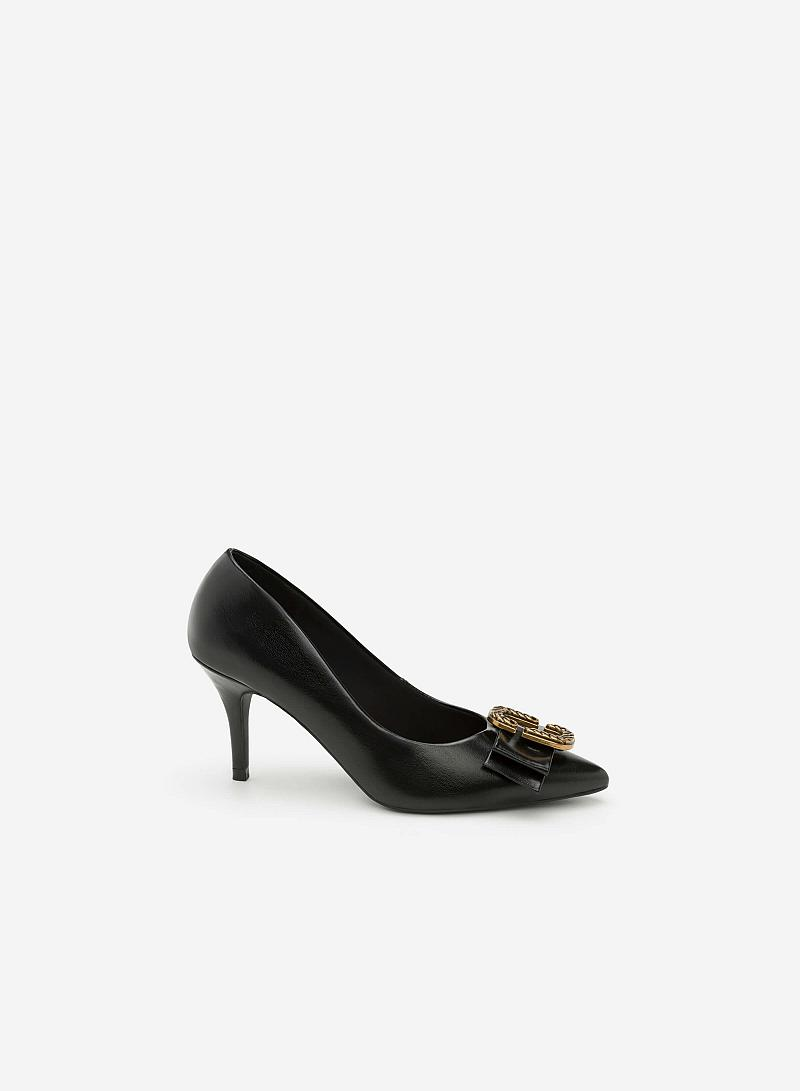 Giày Cao Gót Mũi Đính Nơ - BMN 0304 - Màu Đen - vascara