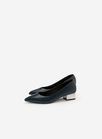 Giày bít mũi nhọn gót vuông - BMN 0305 - Màu Xanh Cổ Vịt - VASCARA