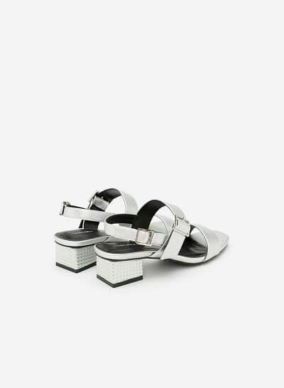 Giày Sandal Gót Vuông - SDN 0609 - Màu Bạc - VASCARA